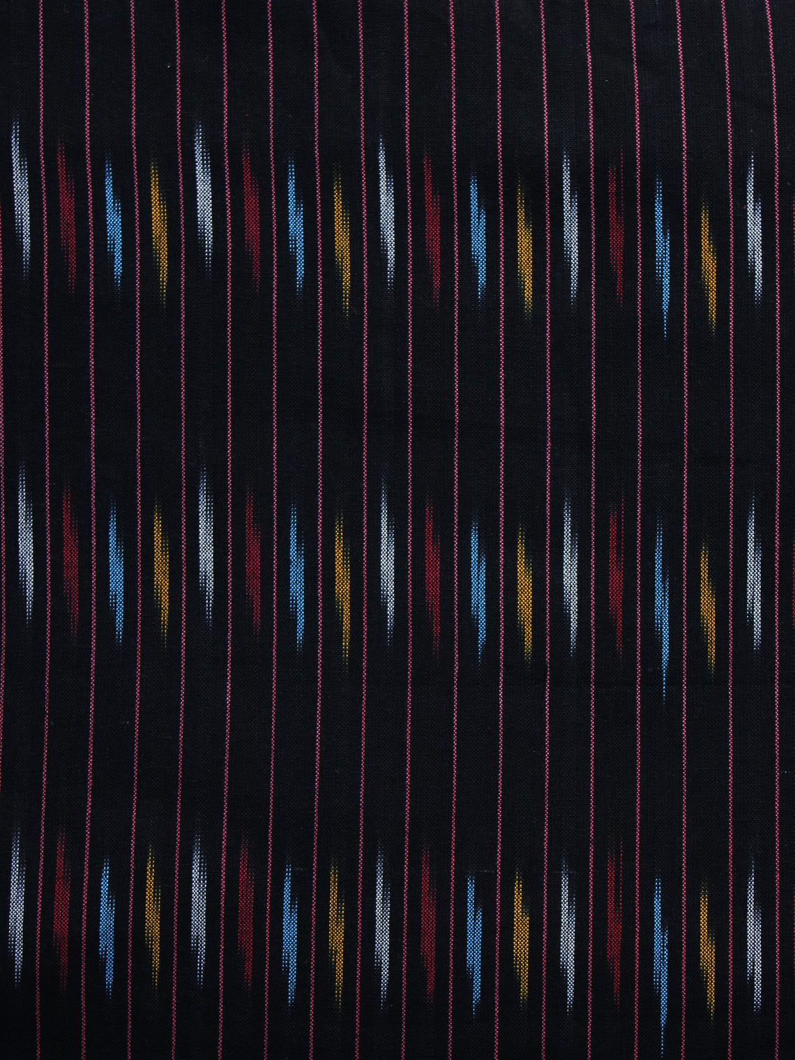 Black Red  Blue Grey Pochampally Hand Weaved Ikat Fabric Per Meter - F003F1228