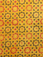 Yellow Black Red Ajrakh Hand Block Printed Cotton Fabric Per Meter - F003F1590