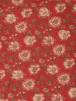 Red Beige Mustard Block Printed Cotton Fabric Per Meter - F001F2386