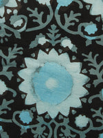 Black Blue Ivory Hand Block Printed Cotton Fabric Per Meter - F001F1062