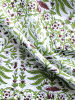 White Wine Red Green Hand Block Printed Cotton Fabric Per Meter - F001F1494