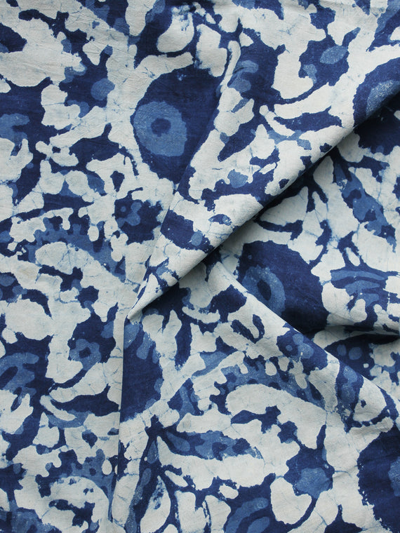 Indigo Ivory Hand Block Printed Cotton Fabric Per Meter - F001F1106