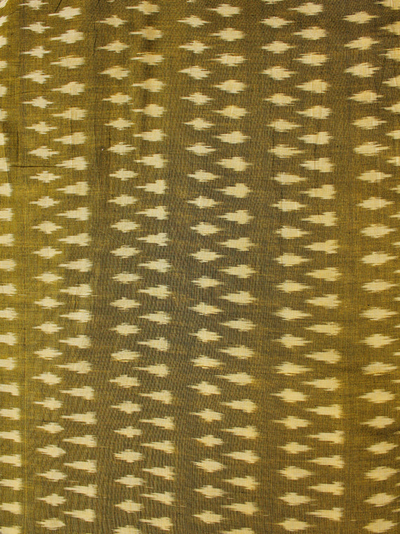 Mustard Yellow Pochampally Hand Weaved Ikat Mercerised Cotton Fabric Per Meter - F002F1963