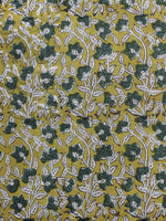 Mustard Yellow Military Green Ivory  Hand Block Printed Cotton Fabric Per Meter - F001F1132