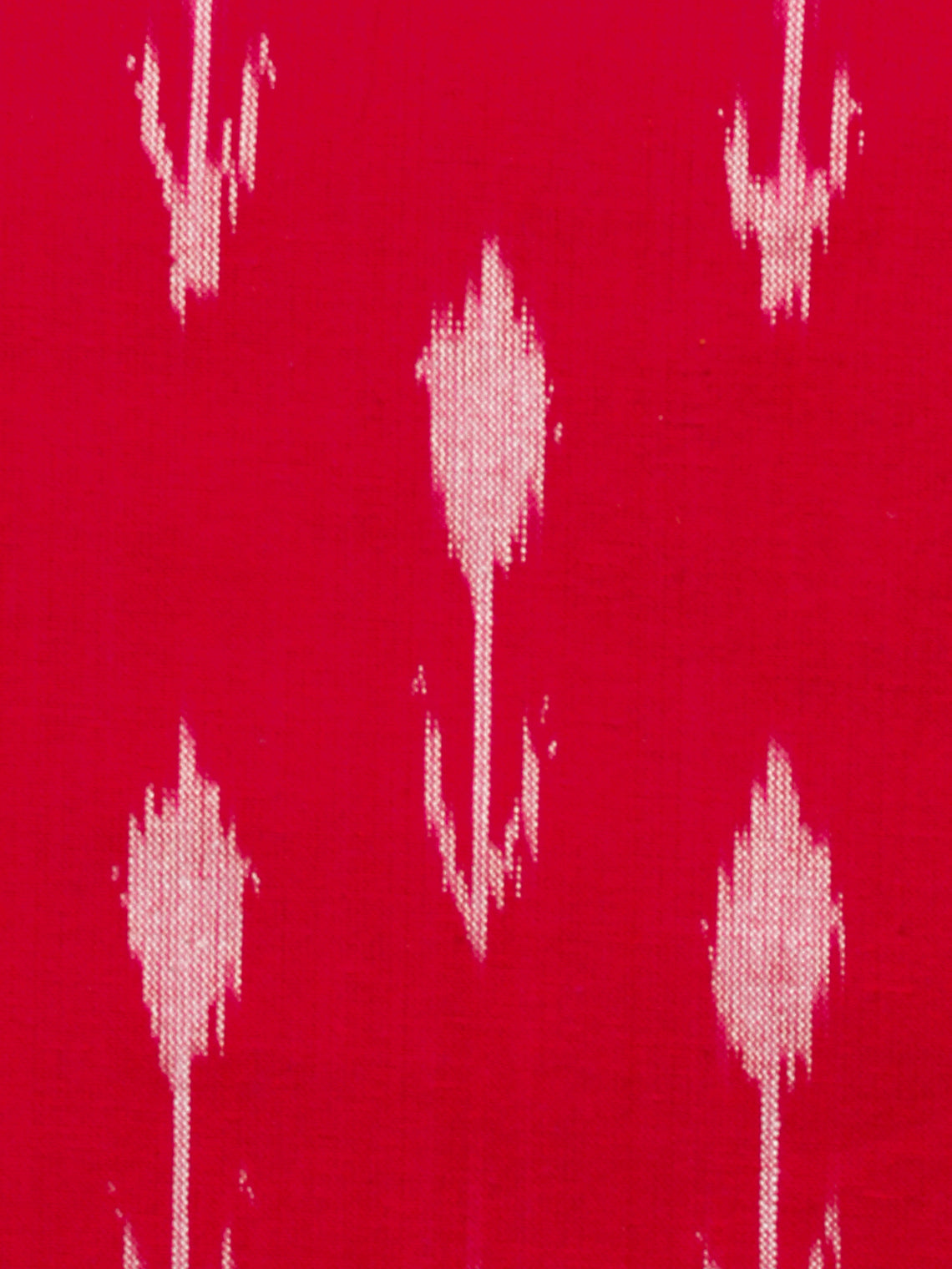 Red White Hand Woven Double Ikat Handloom Cotton Fabric Per Meter - F002F1570