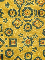 Mustard Ivory Green Ajrakh Printed Cotton Fabric Per Meter - F003F1521