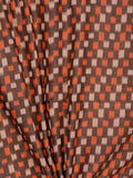 Brown Rust Ivory Pochampally Hand Weaved Ikat Mercerised Cotton Fabric Per Meter - F002F1751