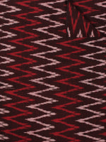 Maroon Red Ivory Pochampally Hand Weaved Ikat Fabric Per Meter - F002F861
