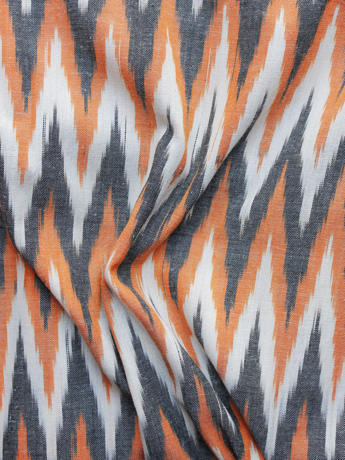 Orange Grey White Pochampally Hand Weaved Ikat Fabric Per Meter - F003F1227