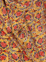 Yellow Red Bottle Green Hand Block Printed Cotton Fabric Per Meter - F001F2357