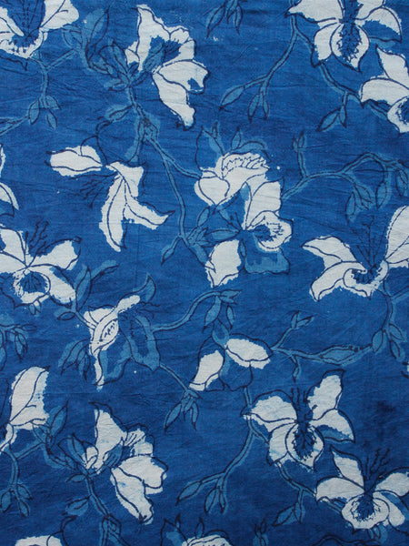 Indigo White Black Hand Block Printed Cotton Fabric Per Meter - F001F1348