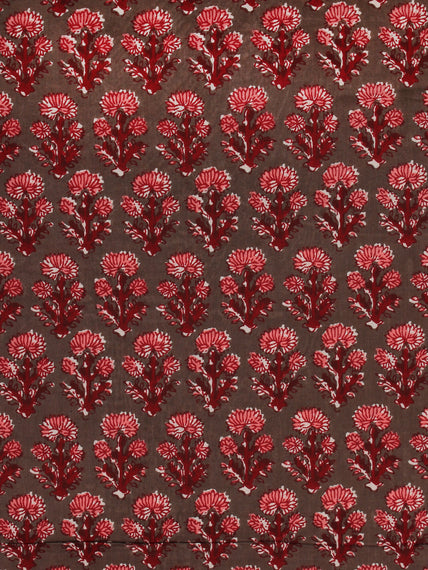 Charcoal Green Pink Marron Hand Block Printed Cotton Fabric Per Meter - F001F2006