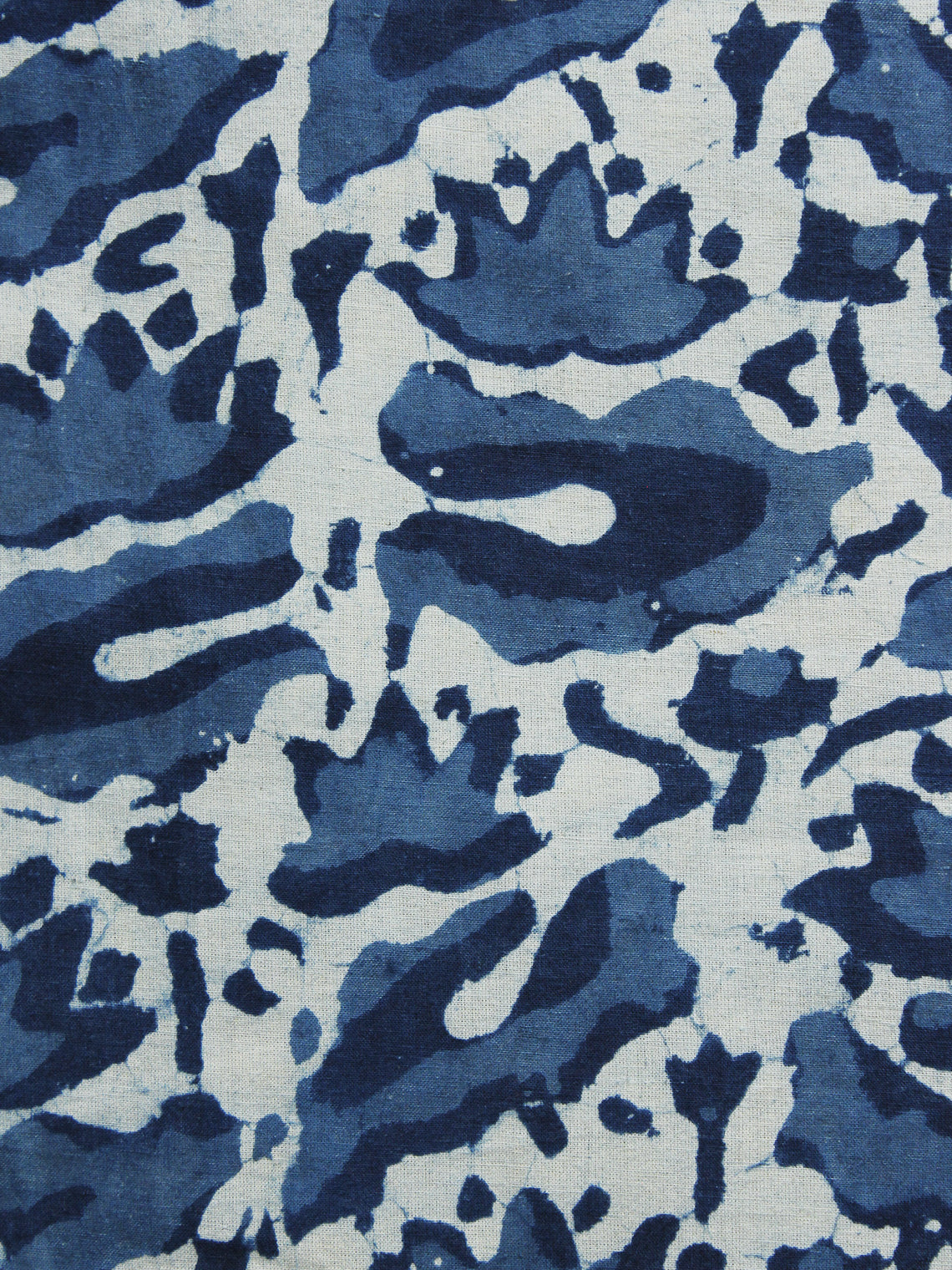 Indigo Ivory Hand Block Printed Cotton Fabric Per Meter - F001F1064