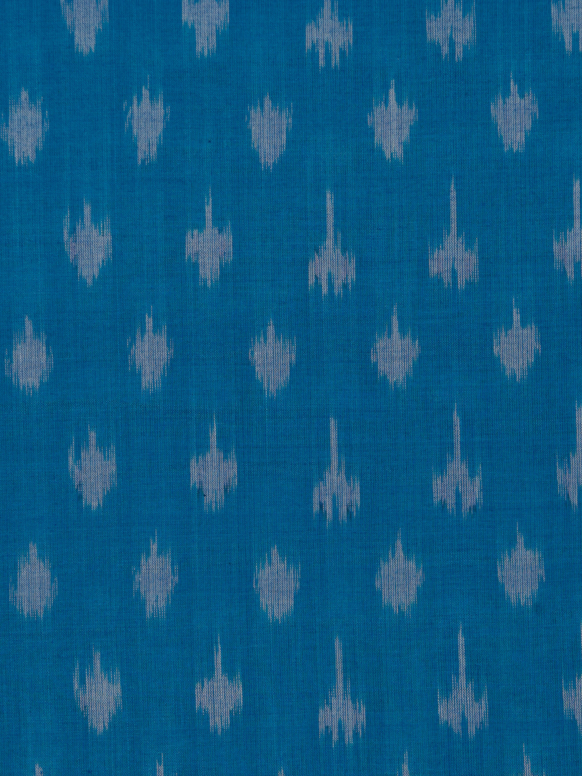 Turquoise Grey Hand Weaved Ikat Mercerised Cotton Fabric Per Meter - F002F1752