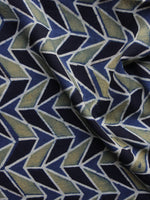 Indigo Black Olive Green  Ajrakh Printed Cotton Fabric Per Meter - F003F1174