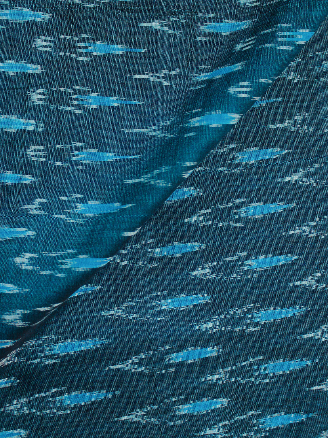 Teal Blue Ivory Pochampally Hand Weaved Ikat Mercerised Cotton Fabric Per Meter - F002F1964