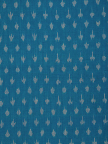 Blue Grey Pochampally Hand Weaved Ikat Mercerised Cotton Fabric Per Meter - F002F1753