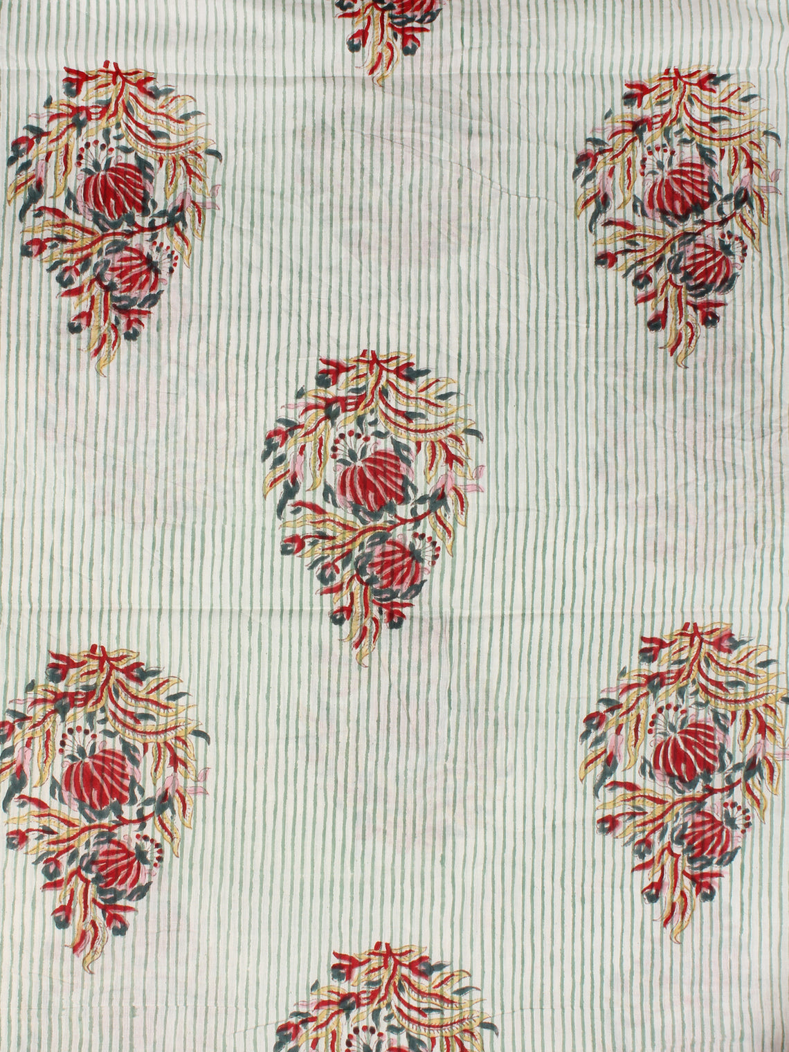 Off White Green Red Hand Block Printed Cotton Fabric Per Meter - F001F2359