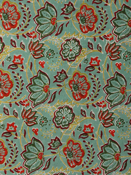 Light Green Maroon red Hand Block Printed Cotton Fabric Per Meter - F001F2009