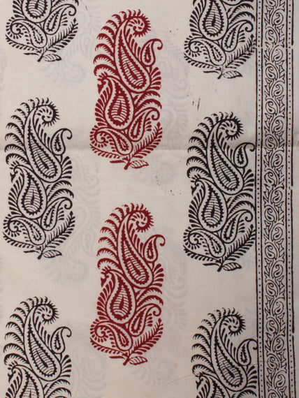 White Red Black Bagh Printed Cotton Fabric Per Meter - F005F2071