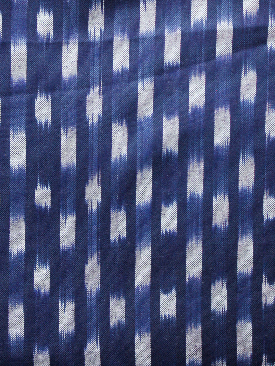 Blue Grey Hand Woven Double Ikat Handloom Cotton Fabric Per Meter - F002F1573