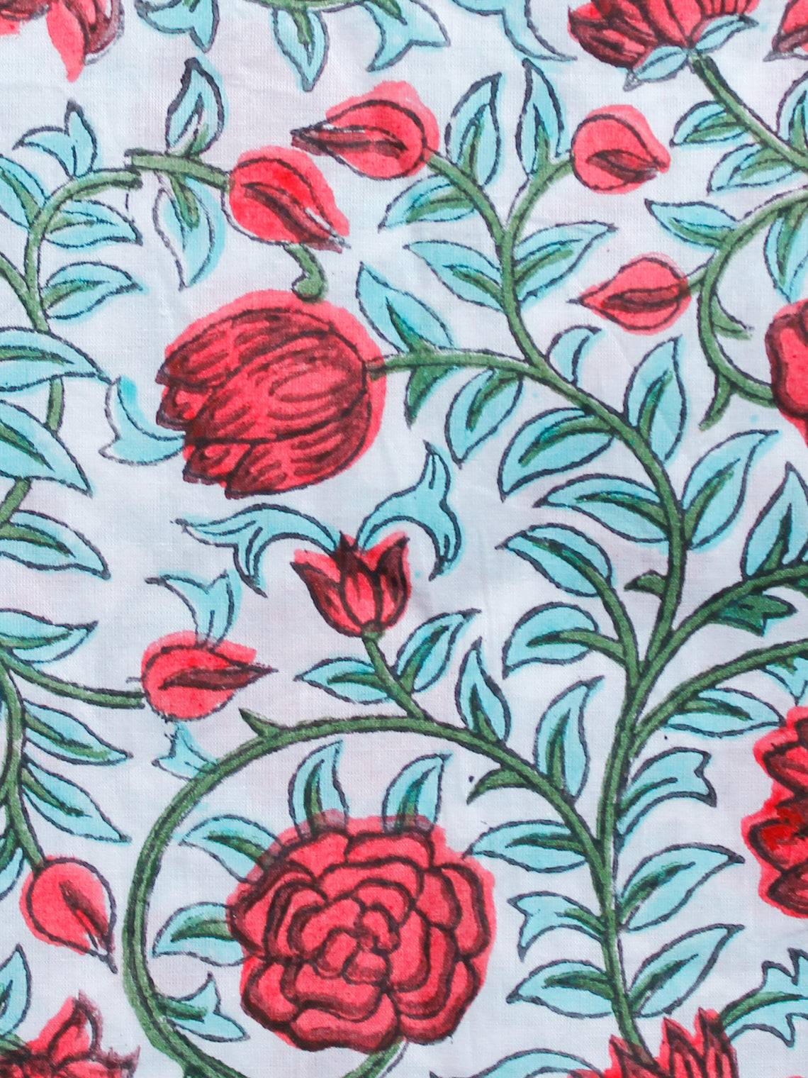 White Sky Blue Pink Green Hand Block Printed Cotton Fabric Per Meter - F001F1497