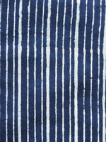 Indigo Ivory Hand Block Printed Cotton Fabric Per Meter - F001F1065