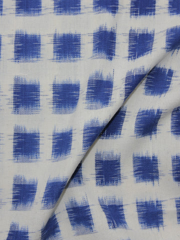 Navy Blue Ivory Pochampally Hand Woven Double Ikat Fabric Per Meter - F002F918