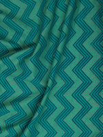 Green Blue Golden Block Printed Cotton Fabric Per Meter - F001F2383