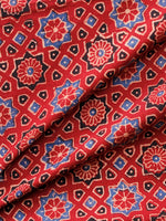 Red Indigo Black Ivory Ajrakh Hand Block Printed Cotton Fabric Per Meter - F003F1593
