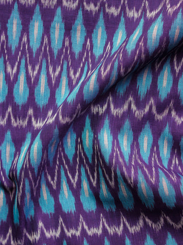 Purple Turquoise Grey Pochampally Hand Weaved Ikat Mercerised  Fabric Per Meter - F002F1420