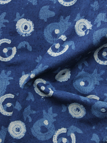Indigo Ivory Hand Block Printed Cotton Fabric Per Meter - F001F1108