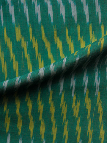 Green Yellow Ivory Pochampally  Weaved Ikat Mercerised  Fabric Per Meter - F002F1403