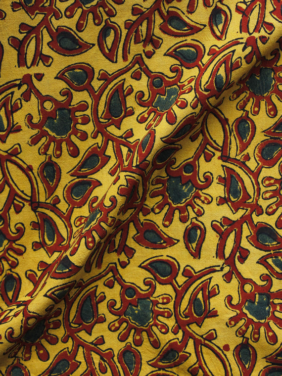 Mustard Maroon Green Ajrakh Hand Block Printed Cotton Blouse Fabric - BPA002