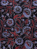 Black Maroon Blue Ajrakh Hand Block Printed Cotton Blouse Fabric - BPA0124