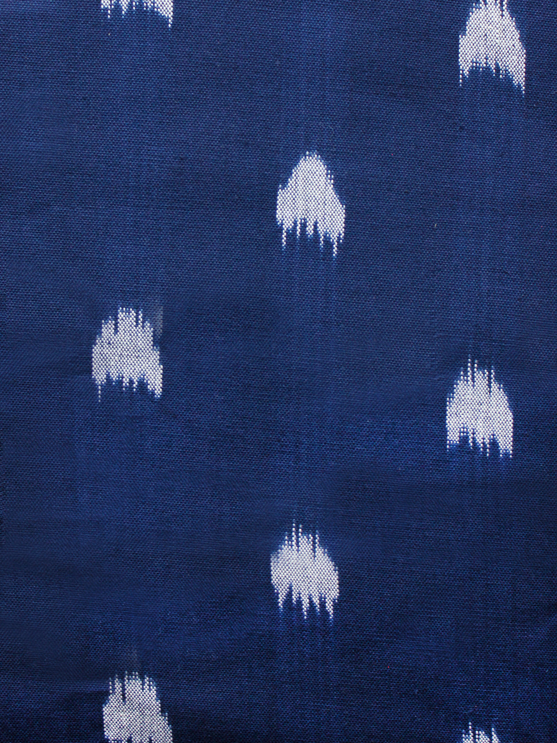 Blue Grey Hand Woven Double Ikat Handloom Cotton Fabric Per Meter - F002F1574