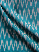 Teal Green Grey Hand Woven Ikat Cotton Fabric Per Meter - F002F1421