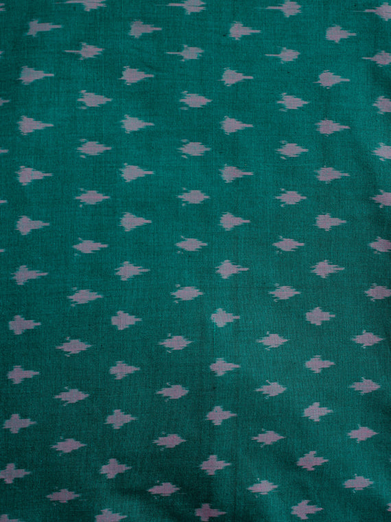 Green Lilac Pochampally Hand Weaved Ikat Mercerised Cotton Fabric Per Meter - F002F1967