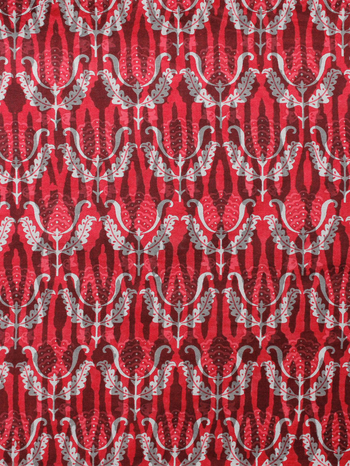 Red White Grey Hand Block Printed Cotton Fabric Per Meter - F001F1351