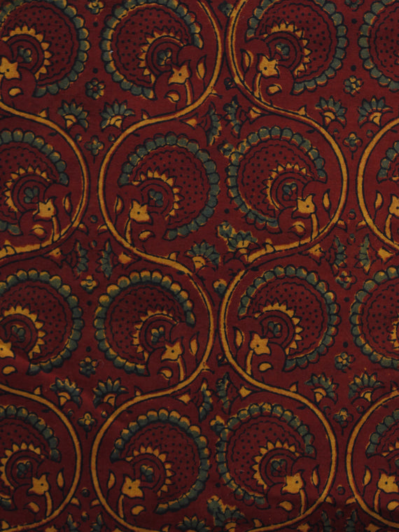Maroon Green Yellow Ajrakh Hand Block Printed Cotton Blouse Fabric - BPA021
