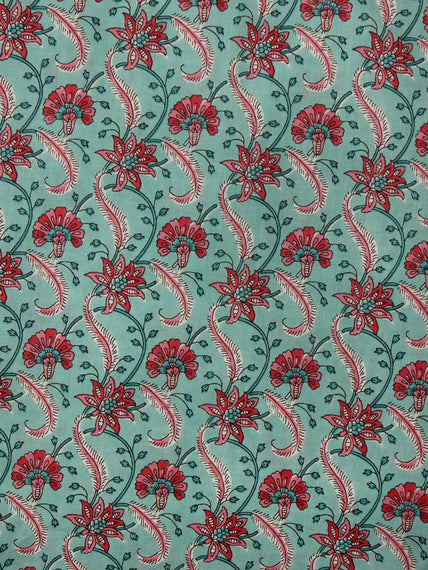 Light Green Red Pink Hand Block Printed Cotton Fabric Per Meter - F001F20012