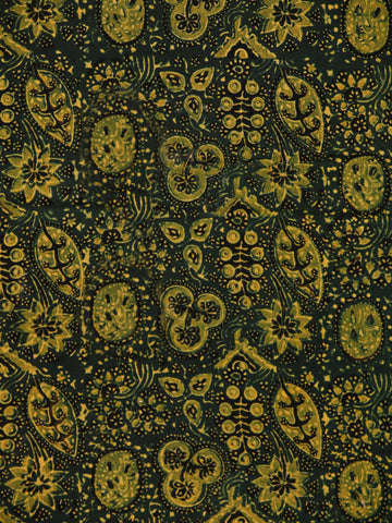 Green Yellow Ajrakh Block Printed Cotton Fabric Per Meter - F003F1754