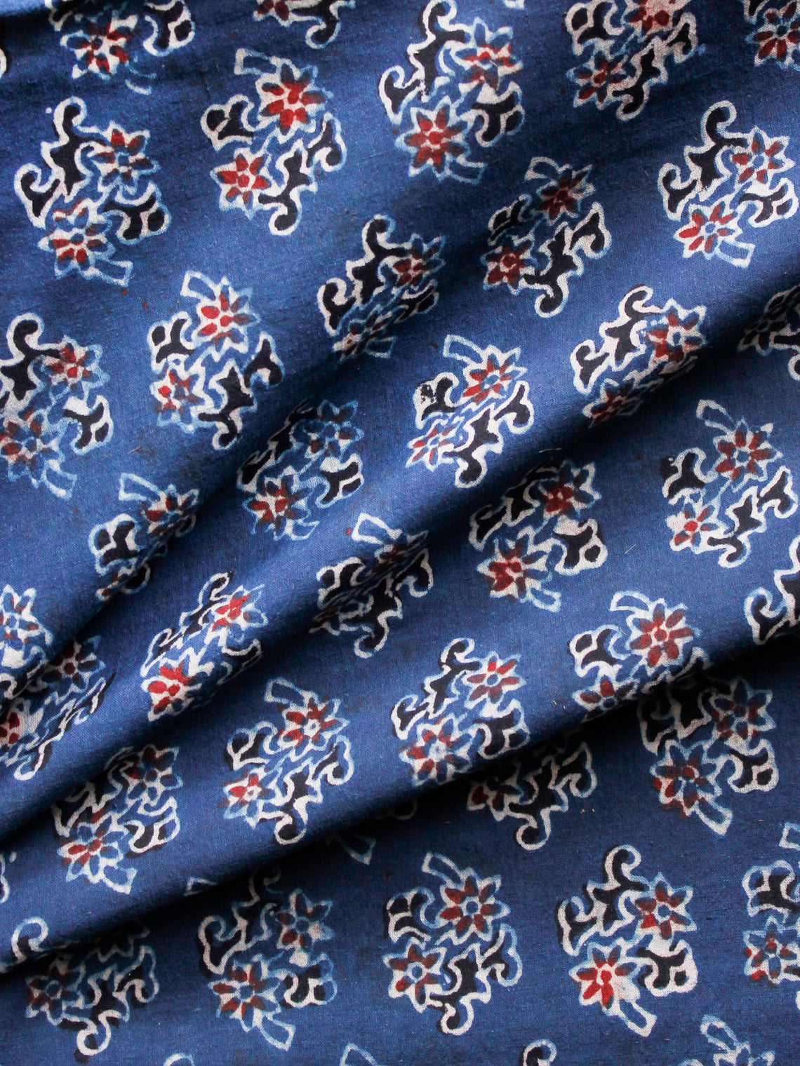 Indigo Black Rust Ivory Ajrakh Hand Block Printed Cotton Fabric Per Meter - F003F1595