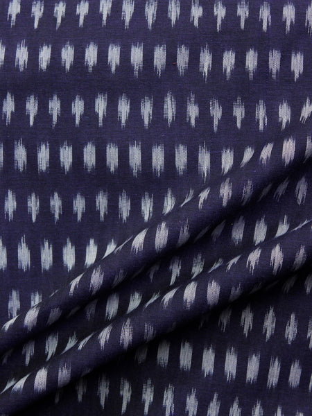 Indigo Grey Pochampally Hand Weaved Ikat Mercerised  Fabric Per Meter - F002F1422