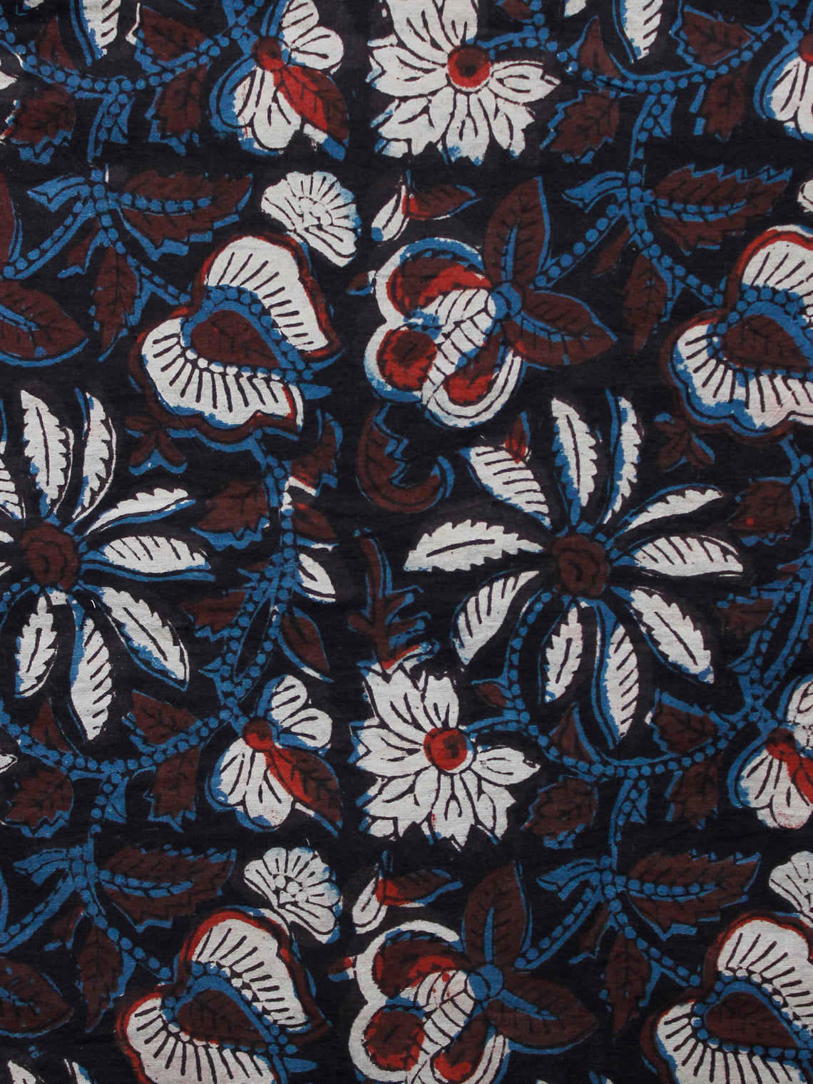 Black Brown Indigo White Hand Block Printed Cotton Fabric Per Meter - F001F1352