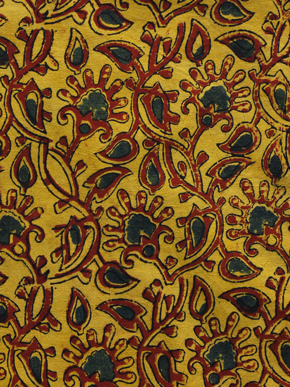 Yellow Maroon Green Ajrakh Hand Block Printed Cotton Blouse Fabric - BPA022