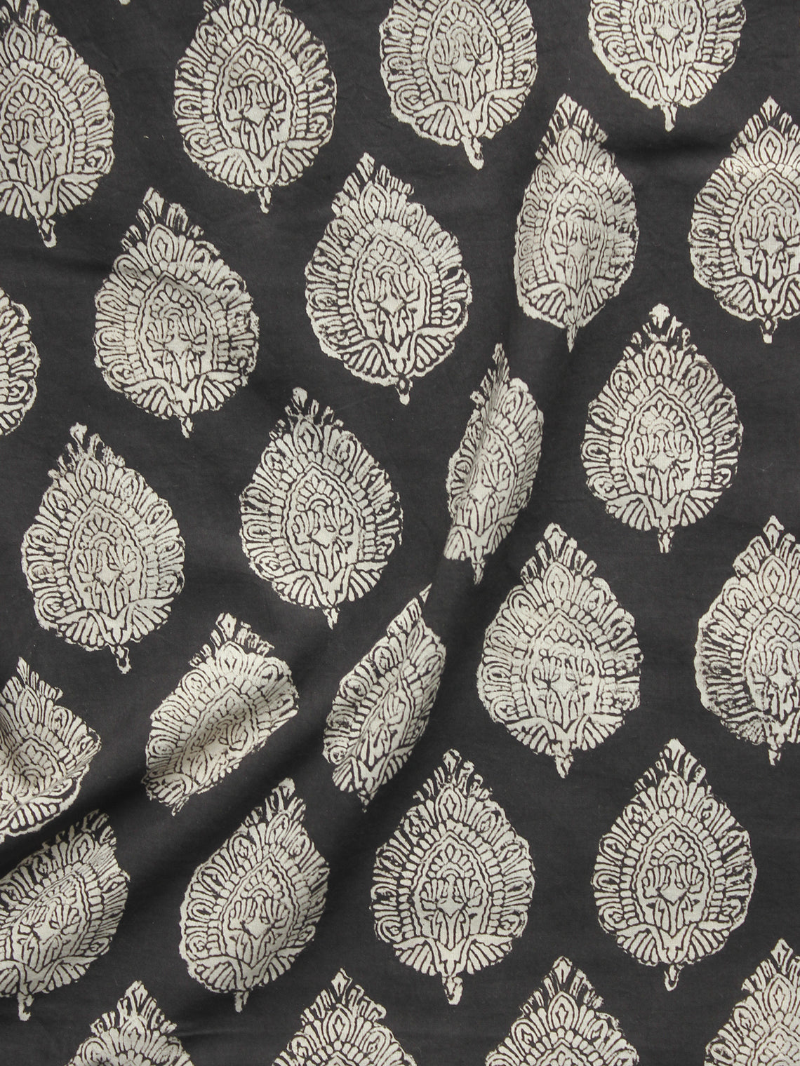 Black Ivory Hand Block Printed Cotton Fabric Per Meter - F001F902
