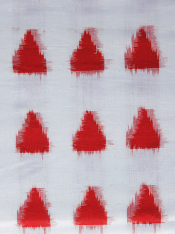 White Red Pochampally Hand Weaved Double Ikat Fabric Per Meter - F003F1236