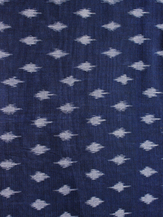 Navy Blue Grey Pochampally Hand Weaved Ikat Mercerised Cotton Fabric Per Meter - F002F1969