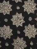 Black Ivory Hand Block Printed Cotton Fabric Per Meter - F001F1069
